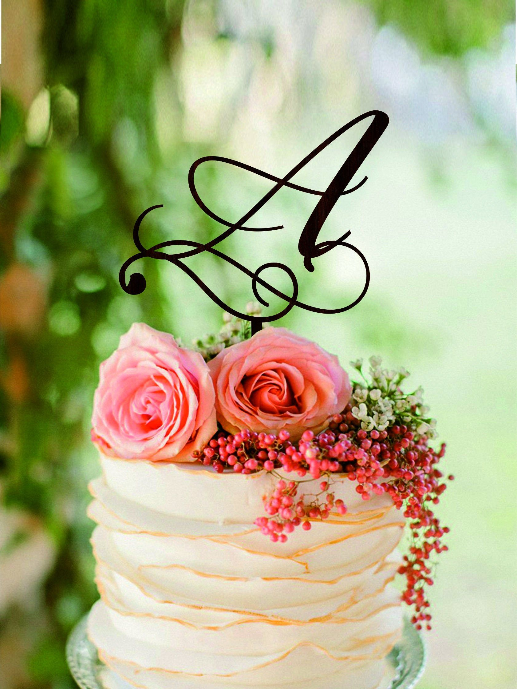 Initial cake topper letter a wedding cake toppers