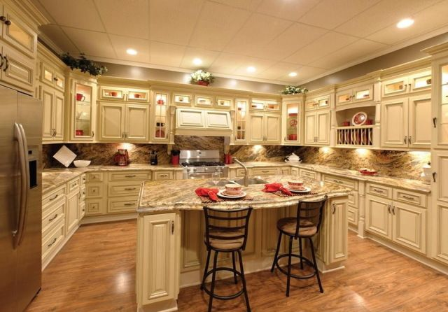 Antique White Kitchen Cabinets With Granite Countertops | Kitchens