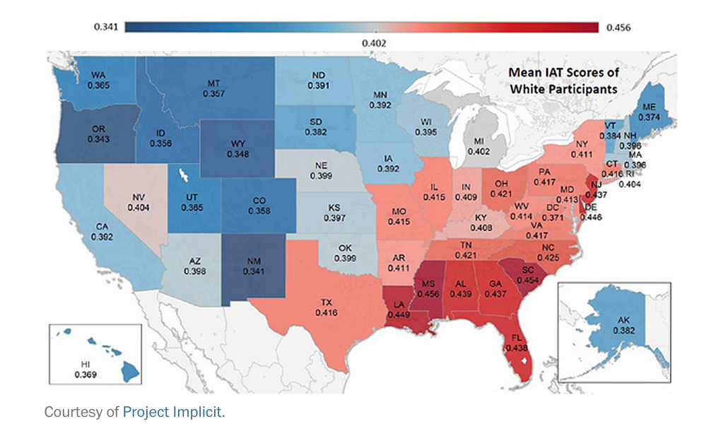 Mean IAT (Implicit Association Test) Scores of White Participants - The tests show higher IAT scores, reflecting a greater negative racial bias against blacks and darker skin people, in southern states.