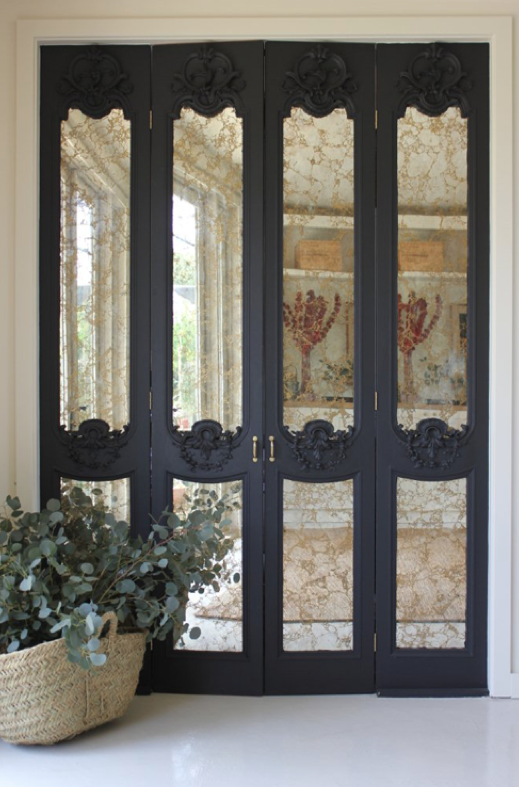 Aluminum Silver Leafed French Provincial Furniture Completed Disc Interiors Mirror Closet Doors Closet Door Makeover