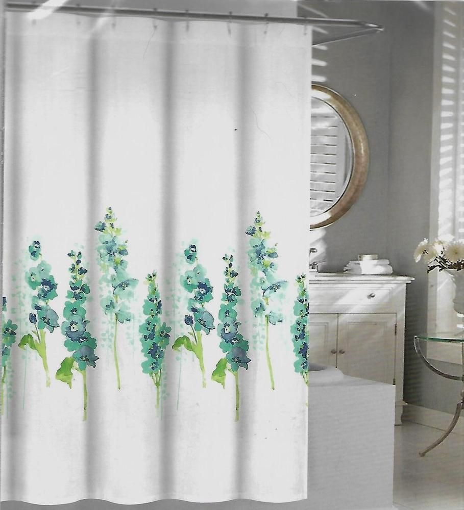 Tahari Home Hollyhock Blue Green Floral On White Cloth Shower
