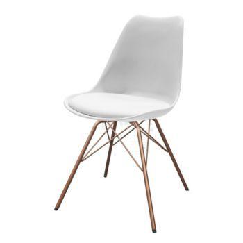 CHAISE BLANCHE PIEDS ACIER LAQUE CUIVRE Chair Design Laque Folding Salon