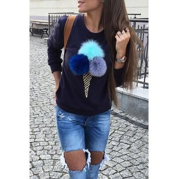 Likable Round Neck Long Sleeves Cone Printed Blue Cotton Hoodies