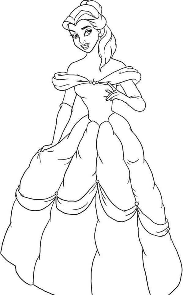 Disney Princess Ariel Was Wearing Dress Coloring Page | Disney ...