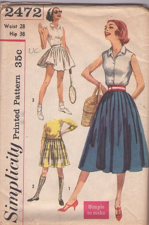 Simplicity 2472 Vintage 50\'s Sewing Pattern FUN Pleated Rockabilly ...