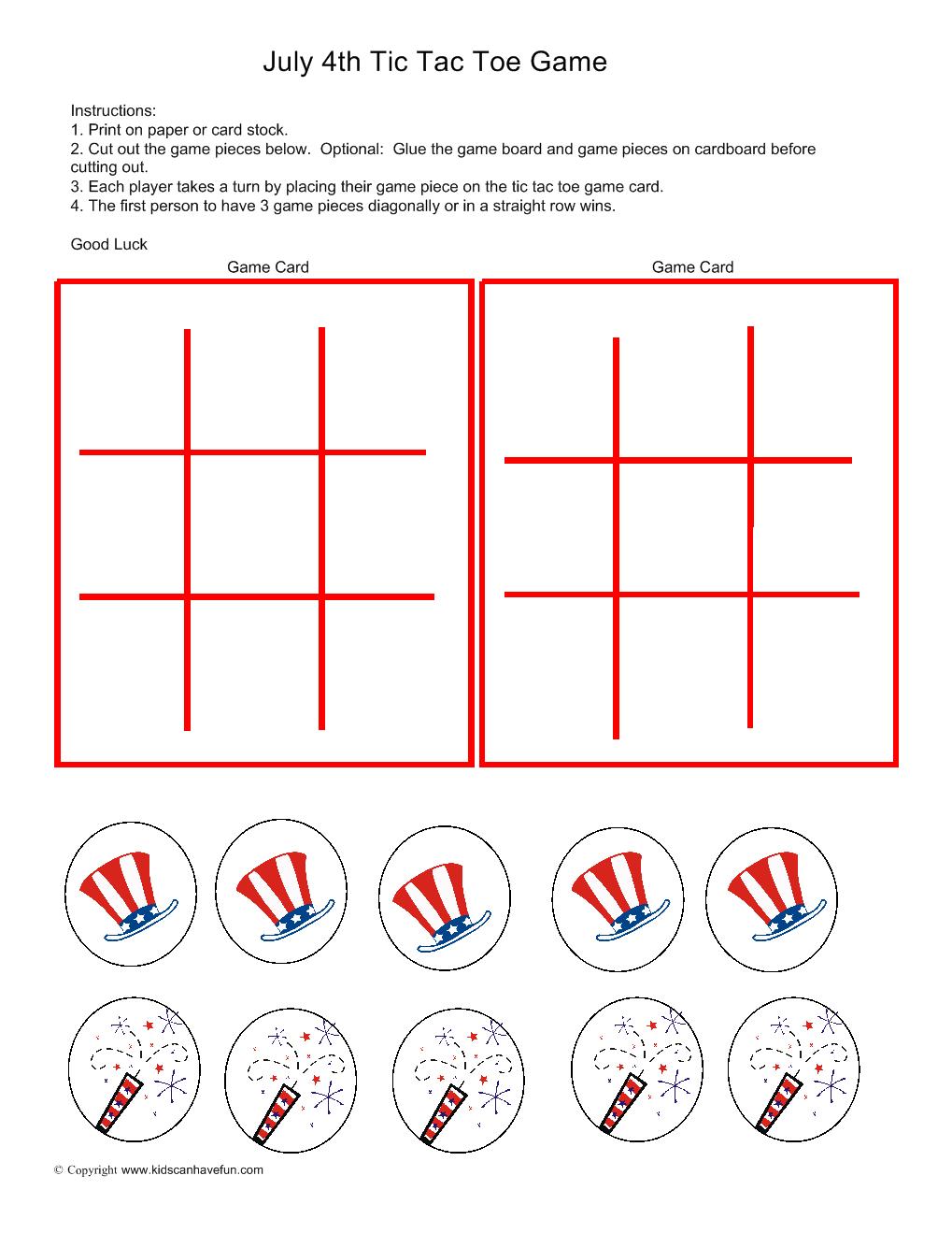 worksheet 4th Of July Worksheets 4th of july tic tac toe game 4thofjuly independenceday kidsgames kidsgames