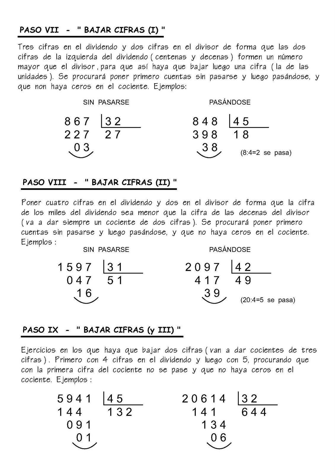 Como Dividir Por Tres Cifras Paso A Paso Fichas Para Practicar La Division Fichas De Matematicas