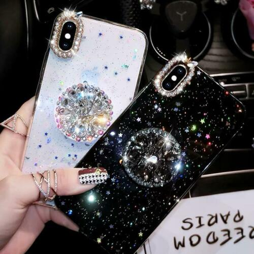 Diamond Glitter Silicone Phone Case With Ring Holder Iphone Samsung Ebay Glitter Iphone Case Iphone Case Design Silicone Phone Case
