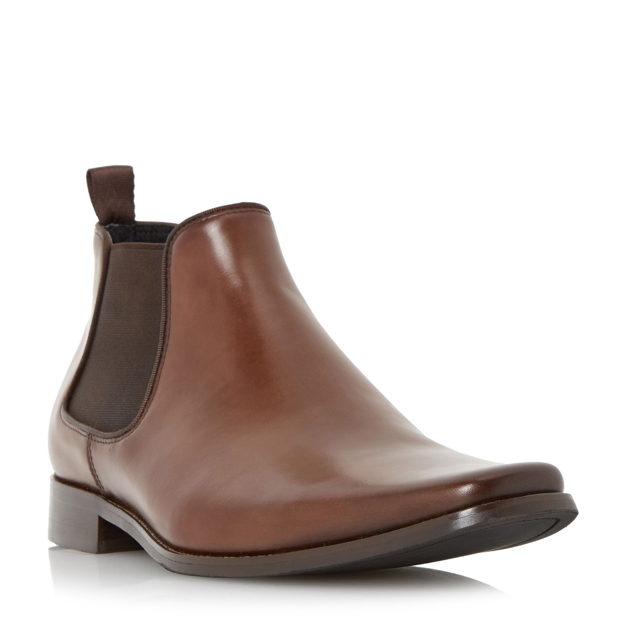 Look the part in this traditionally constructed smart leather chelsea boot.  features square toe elasticated side panels and back pull up tab.