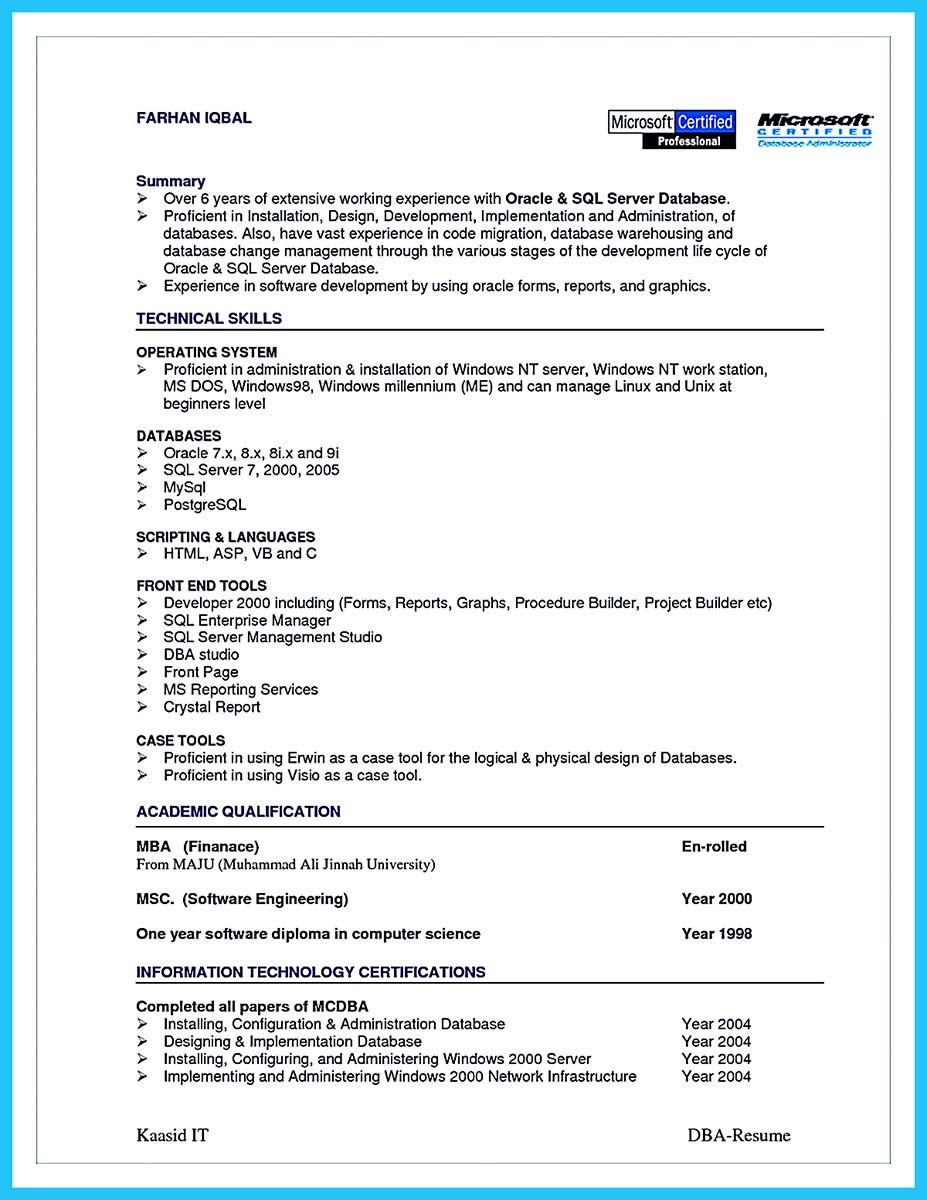 Database Administrator Resume Template | Awesome High Impact Database Administrator Resume To Get Noticed