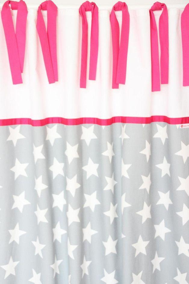 Vorhang maxisterne grau wei pink 140 x 250 cm vorhang kinderzimmer - Vorhang kinderzimmer grau ...