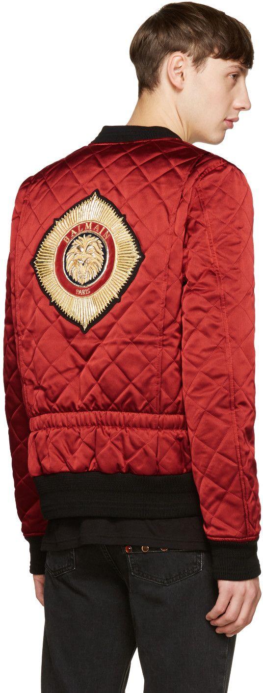 f5566ac0a30c07 Balmain - Red Logo Patch Bomber Jacket   MEN S STYLE   Jackets ...