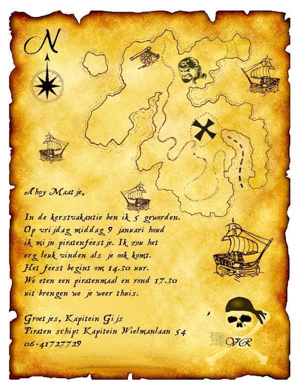 Super Uitnodiging Piratenfeest | Kinderfeestje, Piraten kinderfeest XF-89