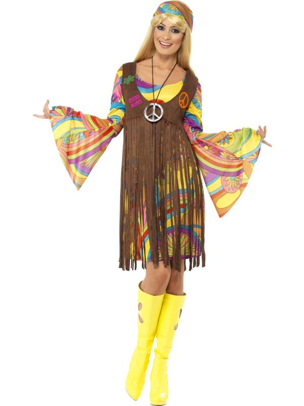 Hippy Costume 60s 1970s Flower Power Hippie Womens Ladies Fancy Dress Outfit