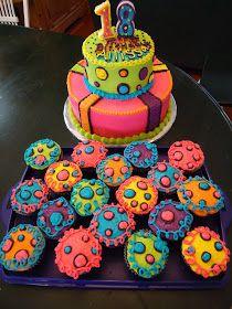 Cat's Cake Creations: NEON Lights BRIGHT BRIGHT BRIGHT Birthday Cake