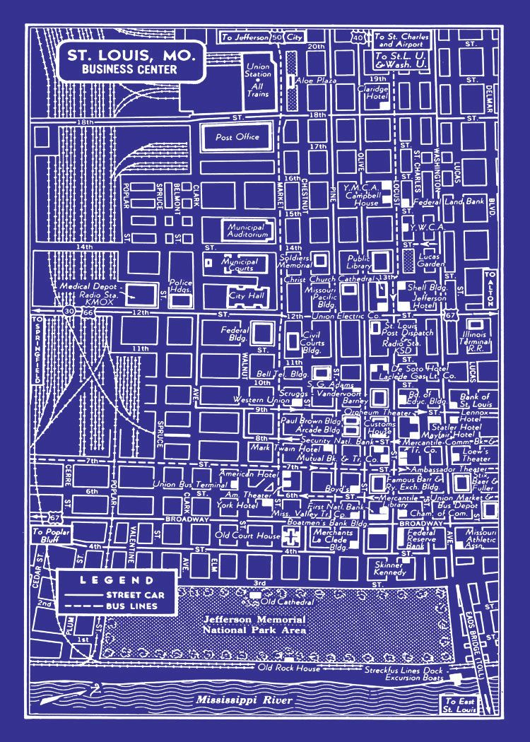 1949 Vintage Map of Downtown St Louis 11x17 Blueprint Map ...
