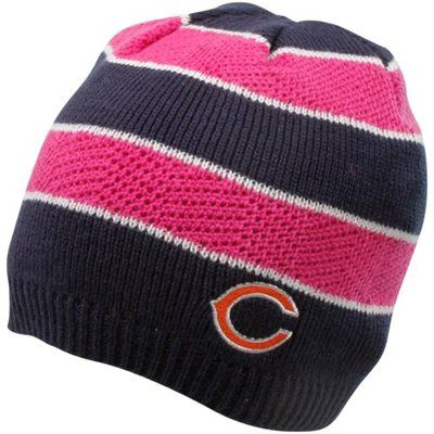 c4dd369c6 Reebok Chicago Bears Ladies Pink-Navy Blue Breast Cancer Awareness Striped Knit  Beanie