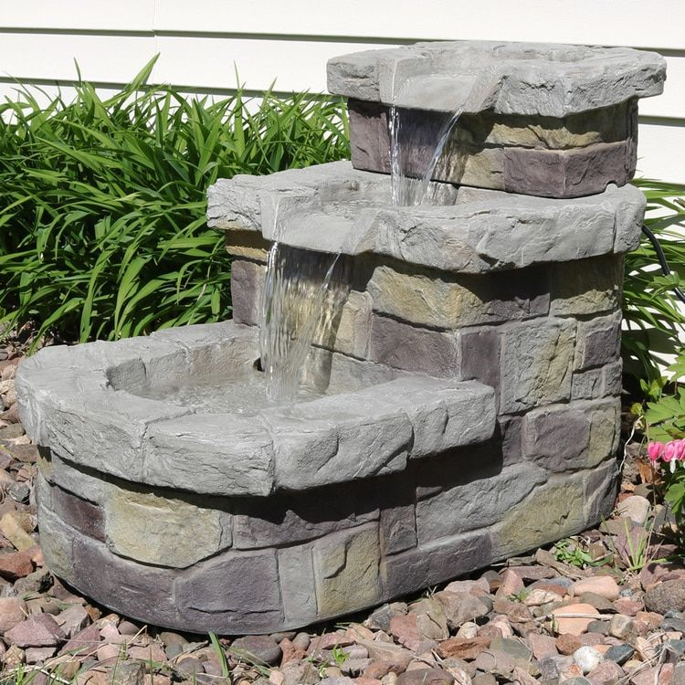 Sunnydaze 3 Tier Brick Steps Outdoor Water Fountain 21 Inch Tall Includes Electric Submersible Pump Water Fountains Outdoor Fountains Outdoor Patio Water Fountain Tall outdoor water fountains