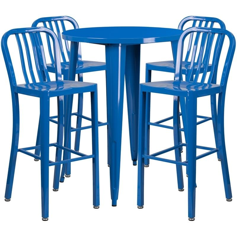 ihome nicollet round 30 blue metal table set w 4 vertical slat
