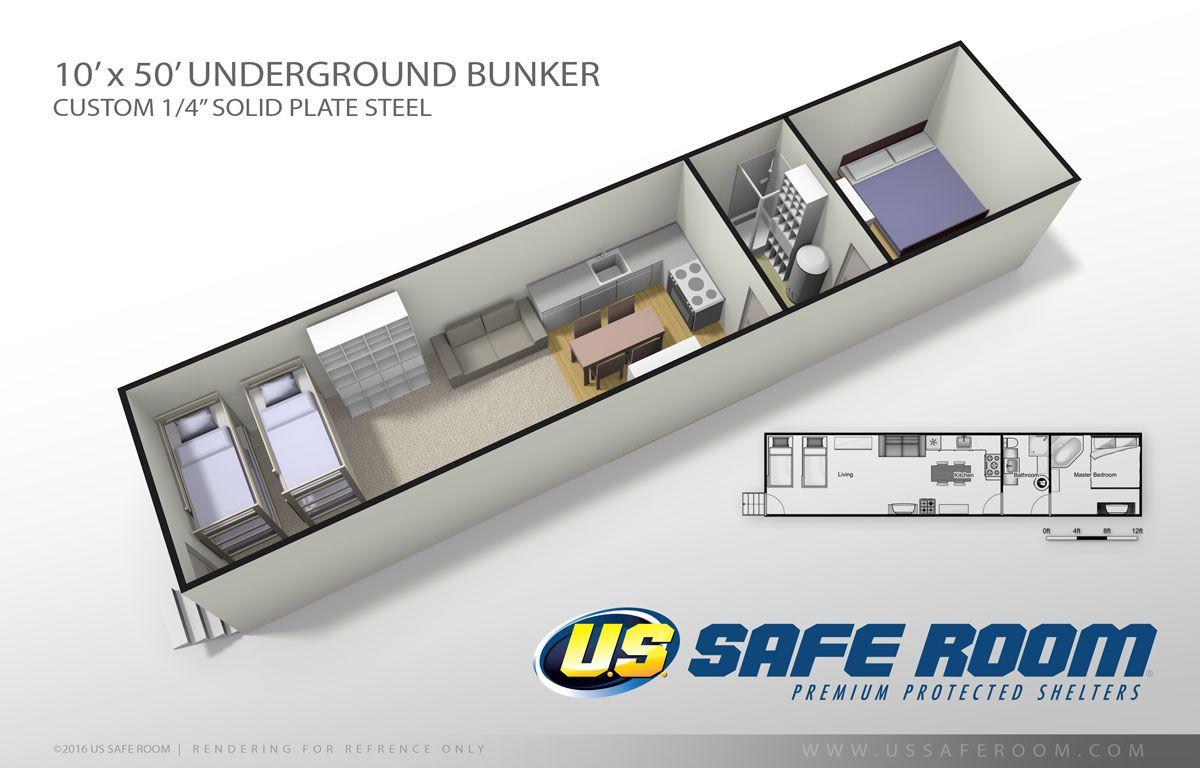 Underground Bunker 10 X 50 U S Safe Room Underground Bunker Safe Room Recreational Room