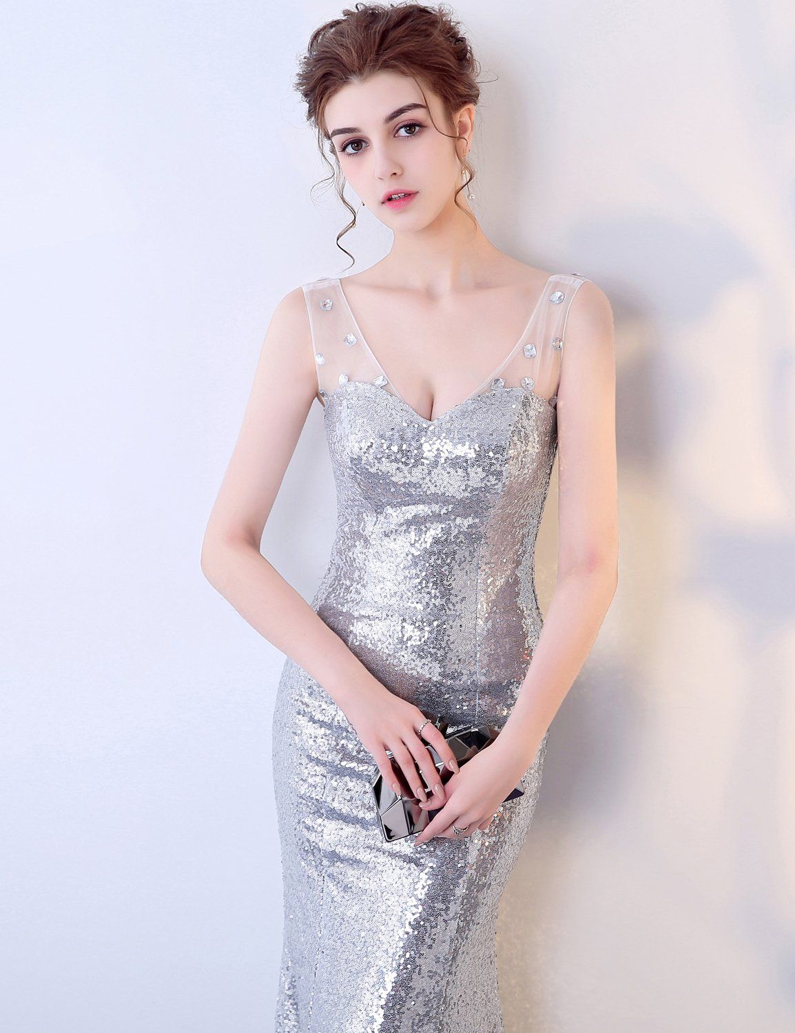 Blue halo women s silvery sequin gatsby maxi long evening prom dress