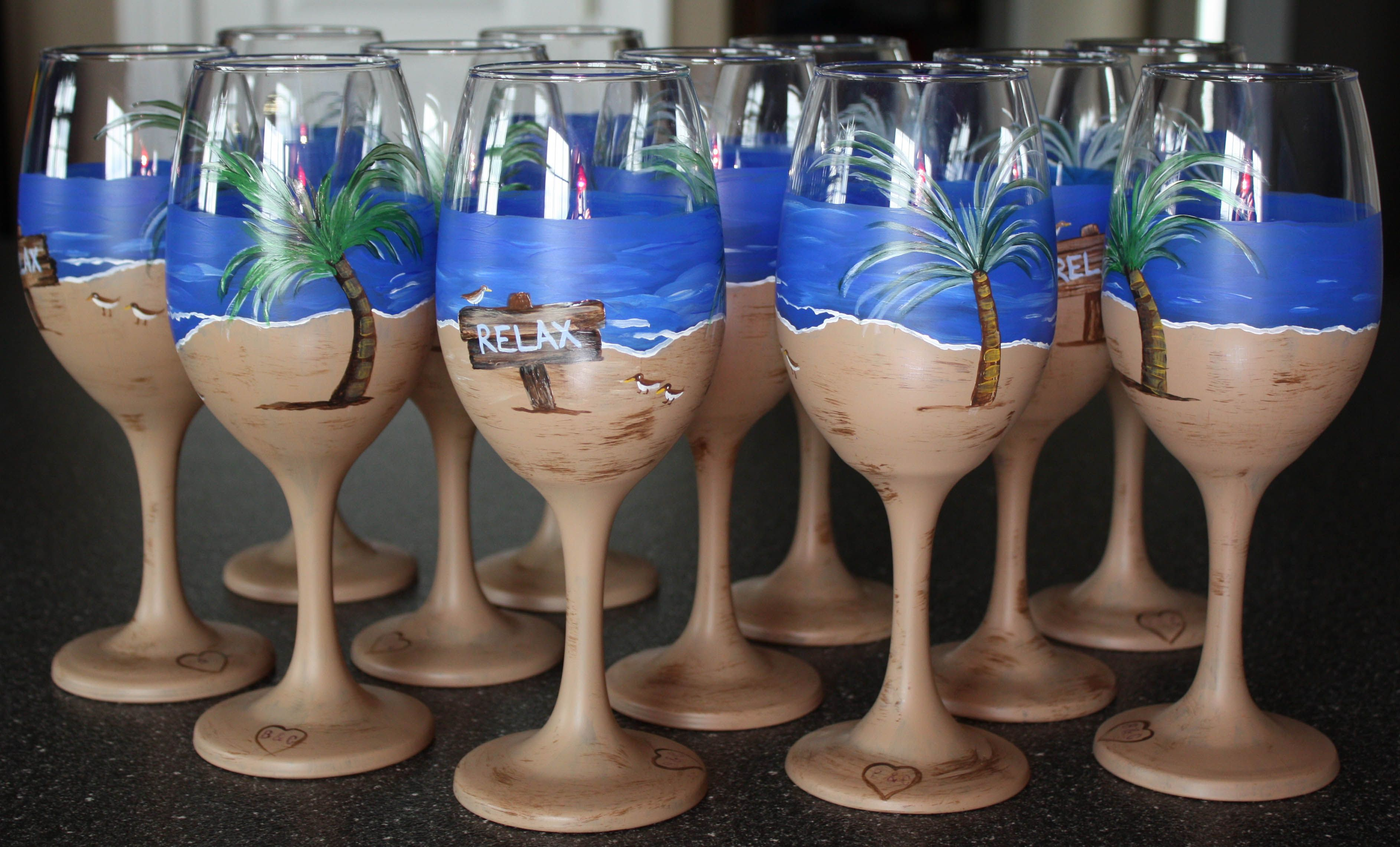 Beach Themed Bridal Shower Hand Painted Wine Glasses Crafts