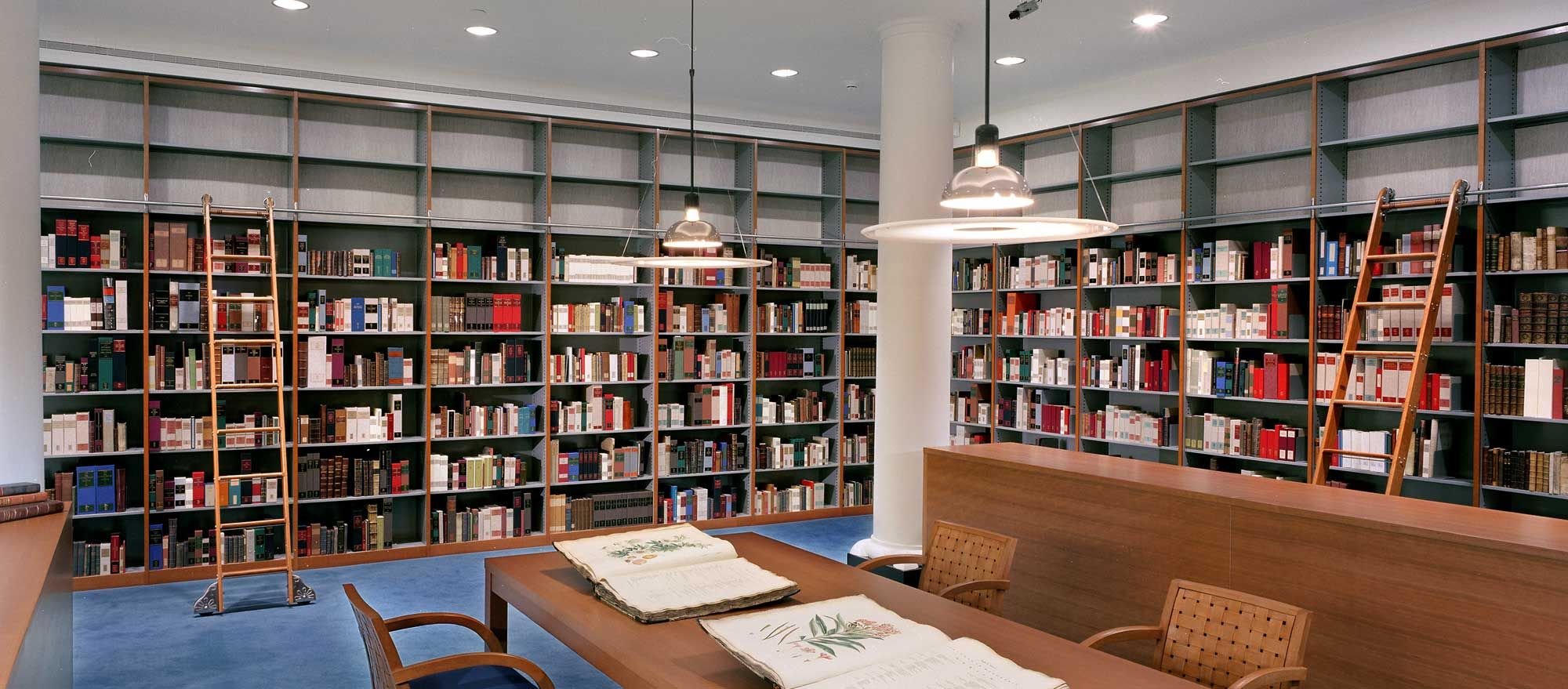 Tall library shelving for book storage along wall. Wall storage for library  shelving allows the
