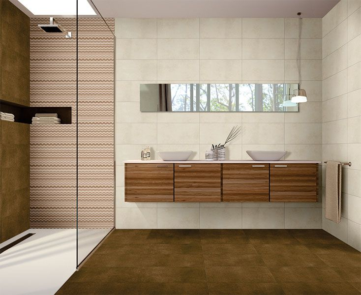 Kajaria Glazed Porcelain Tile Stone Finish Wall And Floor Tile With A Highlight Tile Fpr The Shower Area Tiles Price Tile Bathroom Wall And Floor Tiles