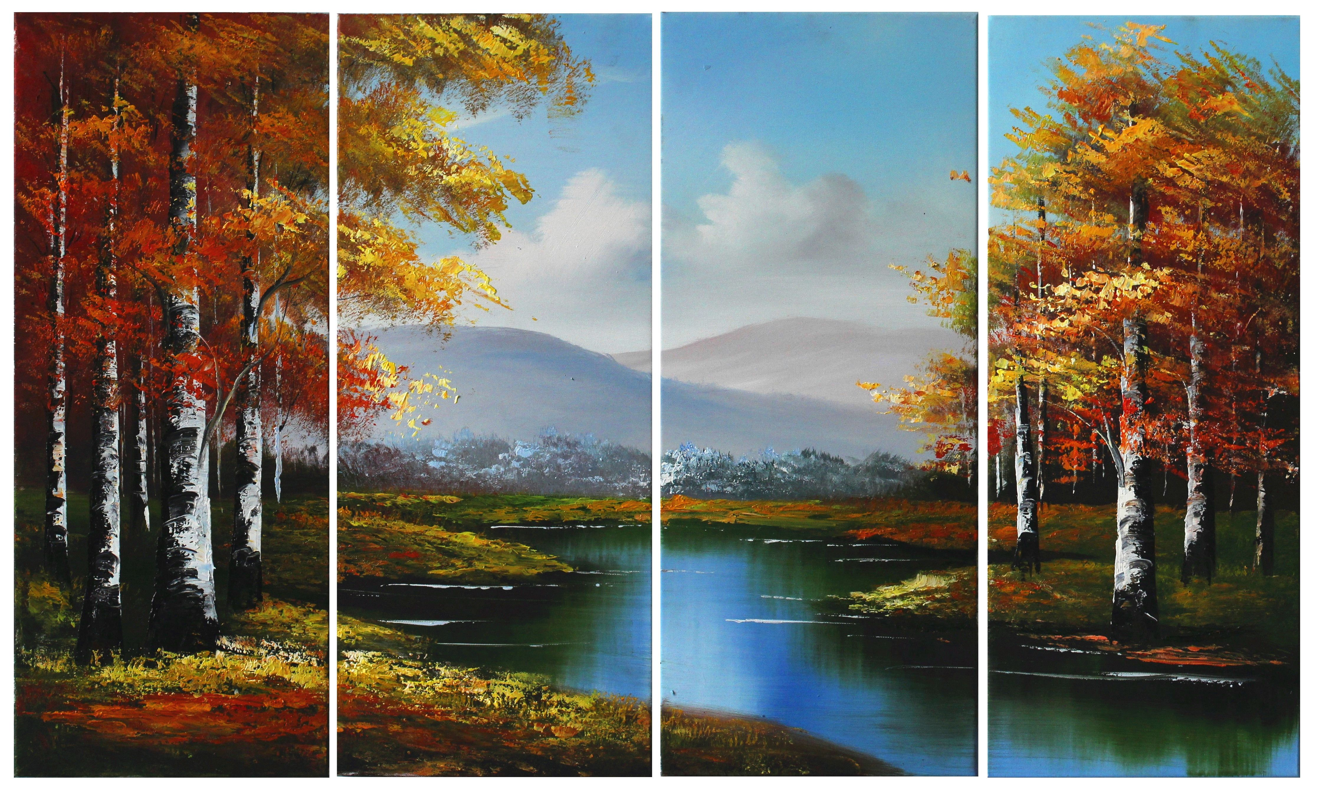 Landscape painting for wall decor streacthed and frame