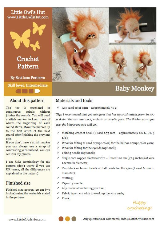 084 Baby monkey - Amigurumi Crochet Pattern PDF file by Pertseva ...