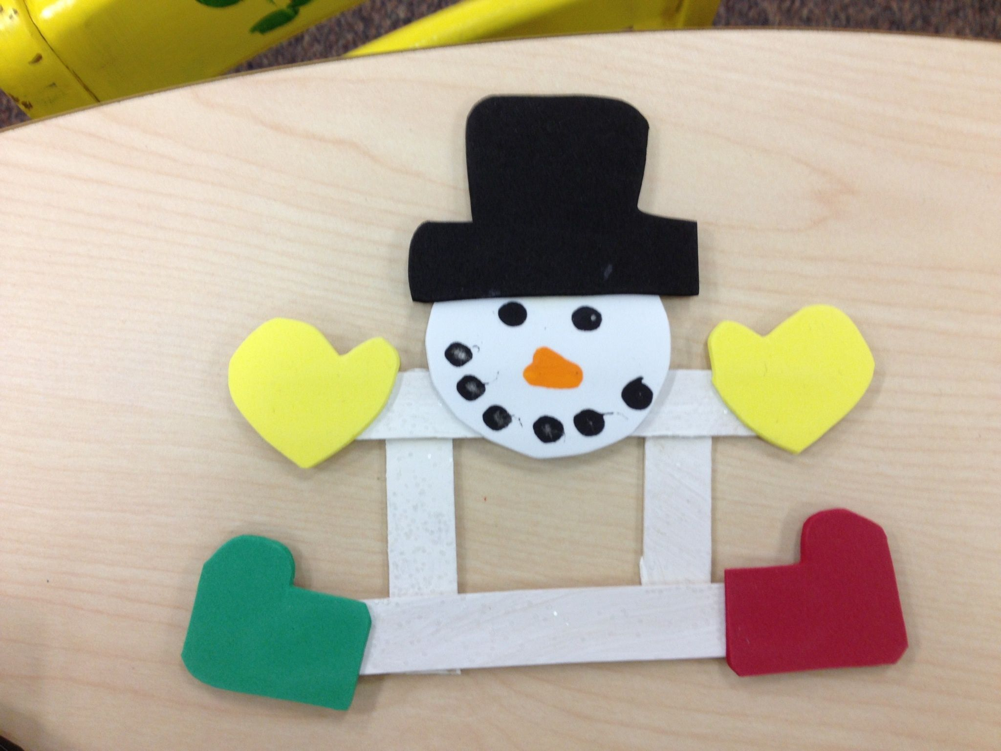 Snowman craft stick picture frame winter pinterest for Popsicle stick picture frame christmas