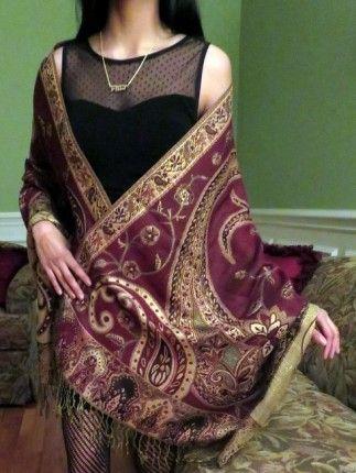 Burgundy Shiny Pashmina Shawl Wrap - Shiny Shawls - Pashmina Shawls