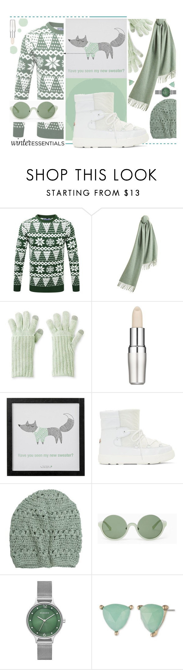 """Mint In Winter."" by s-elle ❤ liked on Polyvore featuring Burberry, Merona, Shiseido, Bloomingville, Moncler, Krochet Kids, 3.1 Phillip Lim, Skagen, Lonna & Lilly and winterstaples"