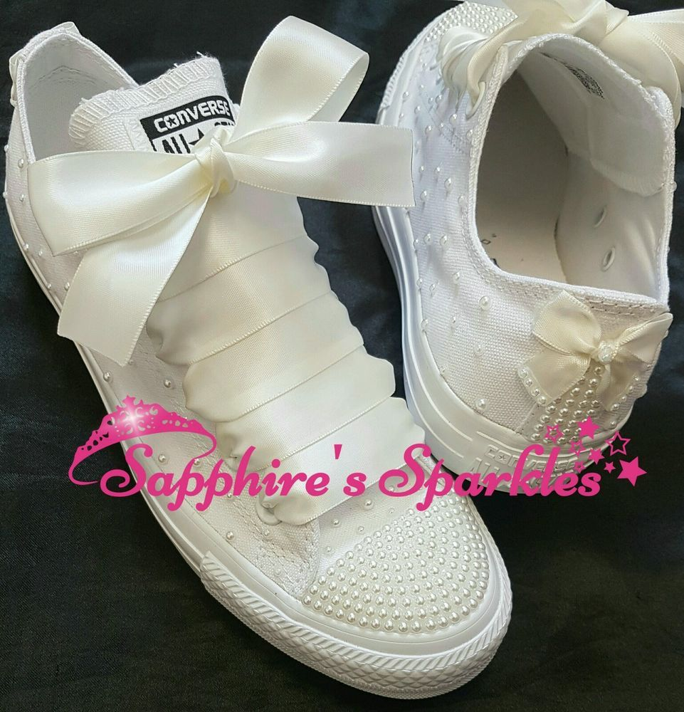 Converse Canvas Lace Up Trainers for Women | eBay. Ivory PearlWhite Converse SparkleCrystalBlingBridalJewelBrideCrystals