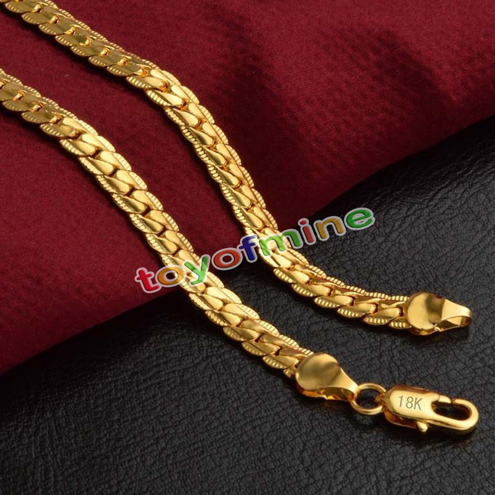 Fashion 5mm Women Men 18k Gold Plated Necklace Neck Chain Jewelry 20inch 50cm Gold Chains For Men Chains For Men Chains Jewelry