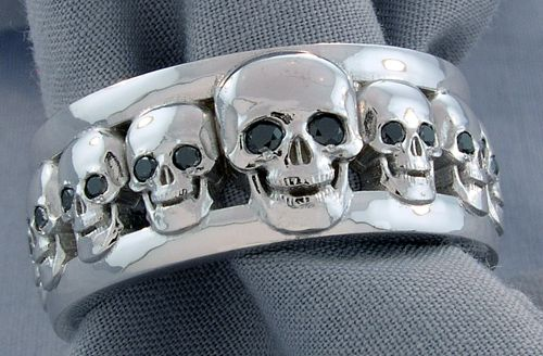 Custom Men S Skull Wedding Band With Black Diamond Eyes Imagesjewelers Customjewelry Skull Wedding Ring Skull Wedding Skull Engagement Ring