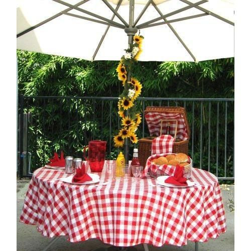 108 Round Checkered Tablecloth With Umbrella Hole Table Cloth