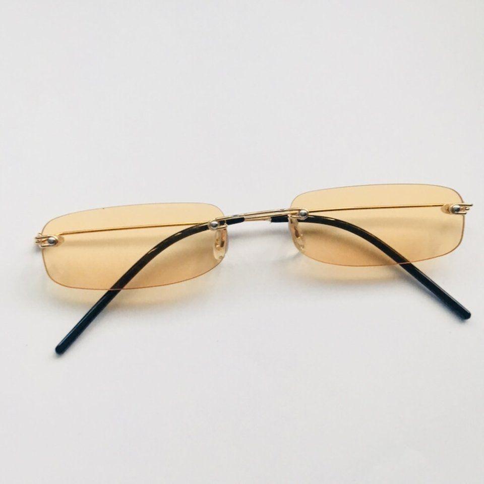 688b72af8480b Slim Rectangle Rimless Sunglasses Depop   Shopflymecca.com