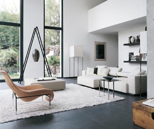 Conceptions Minimalistes D'intérieur De Salle De Séjour De Style Avec Des Meubles Minimalistes