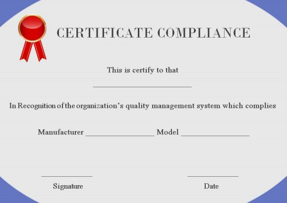 general certificate of compliance template