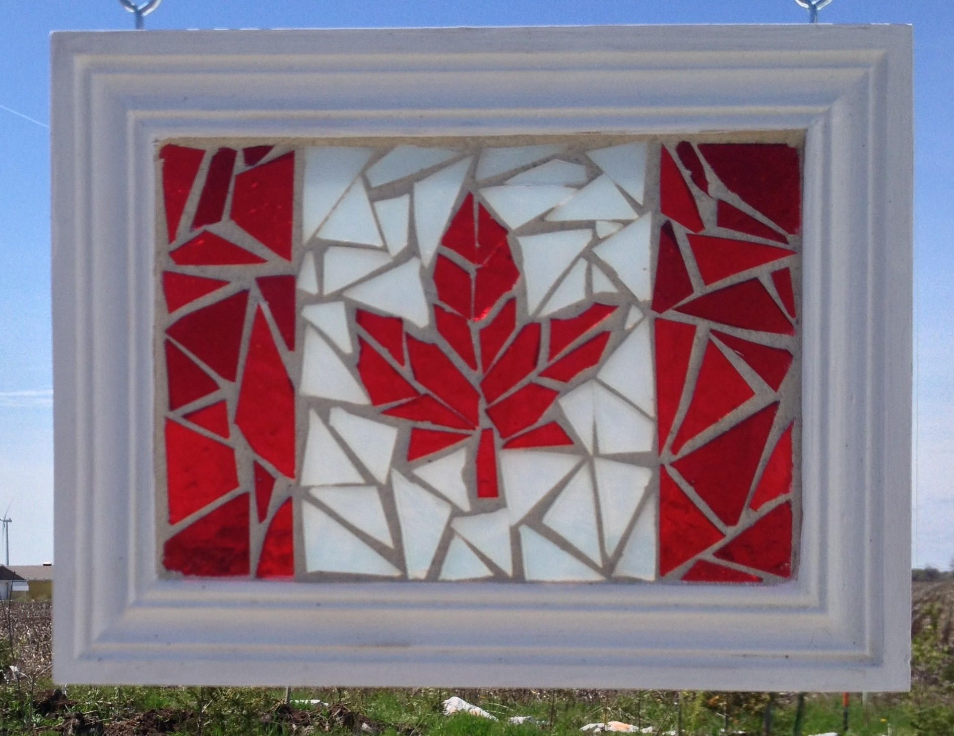 Canadian Flag Stained Glass Mosaic Suncatcher  Red Maple Leaf