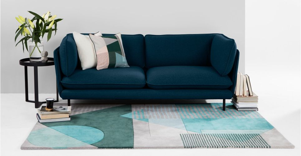 Wes 3 Seater Sofa Petrol Teal From Made Com Green Blue Inspired