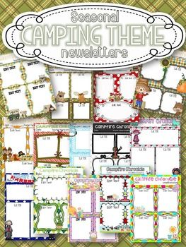 editable seasonal camping theme newsletters classroom themes and