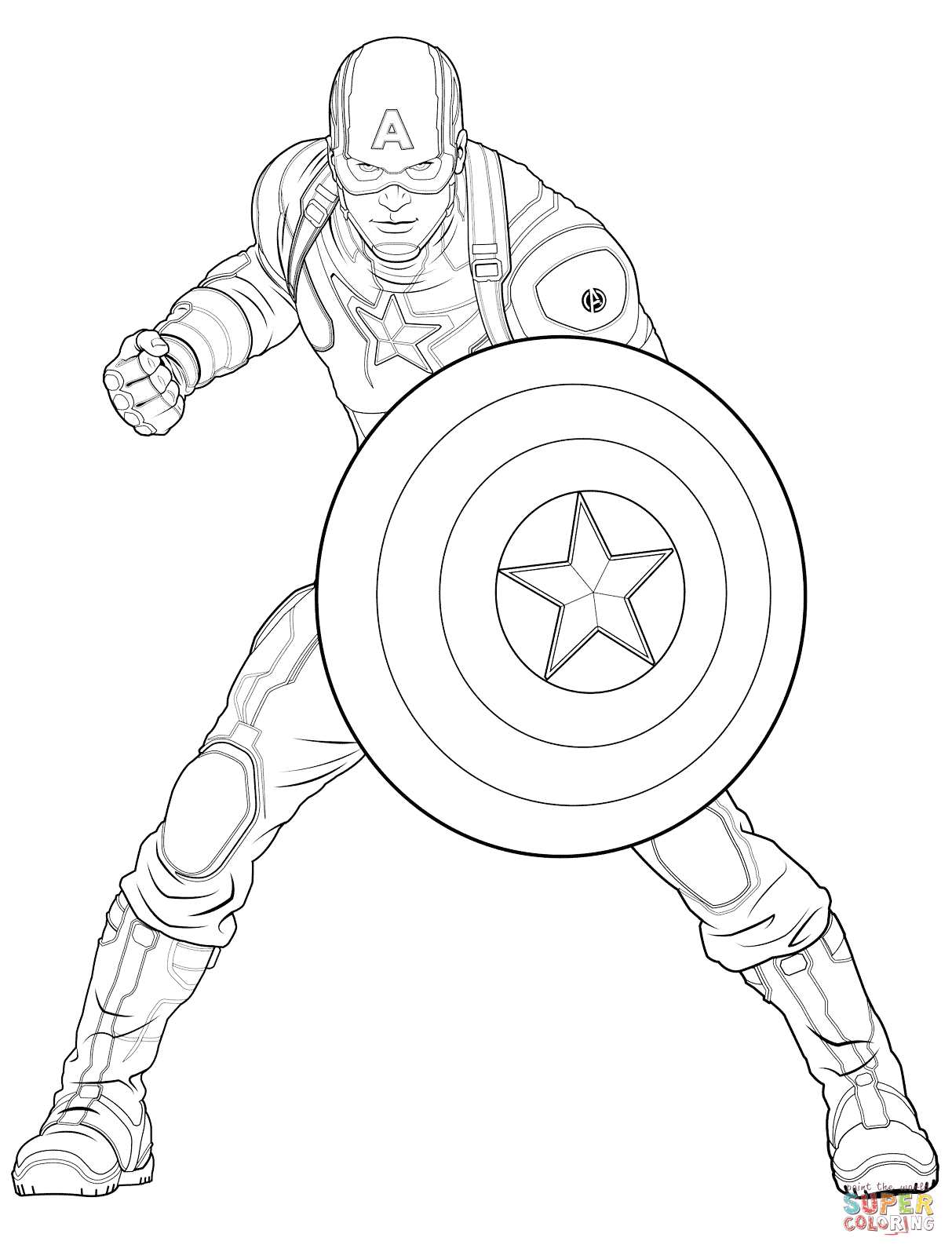 Avengers Captain America Super Coloring Th 232 Me