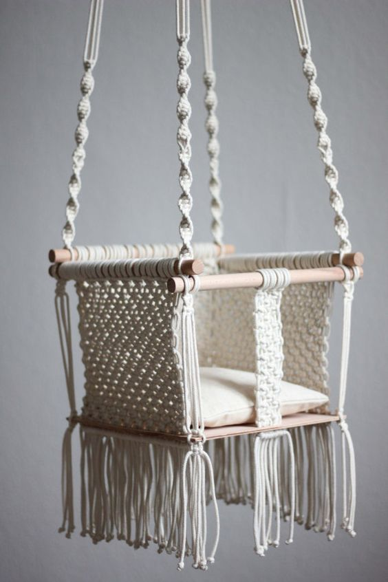 handmade macram baby swing is a product macrame diy
