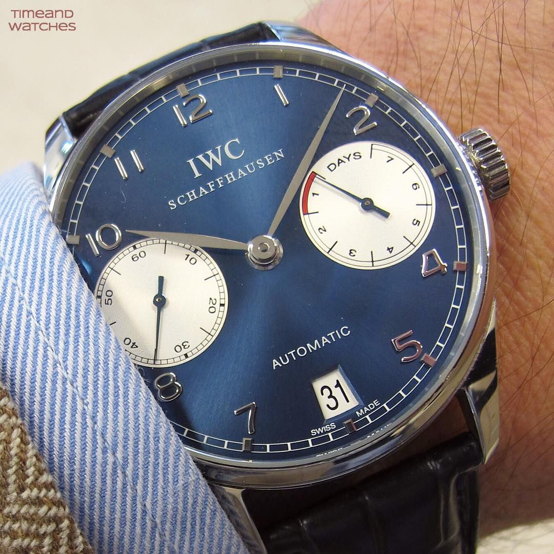 IWC Portuguese Automatic Laureus Edition with a gorgeous blue dial #iwcportuguese #iwcwatches #iwcwristshot