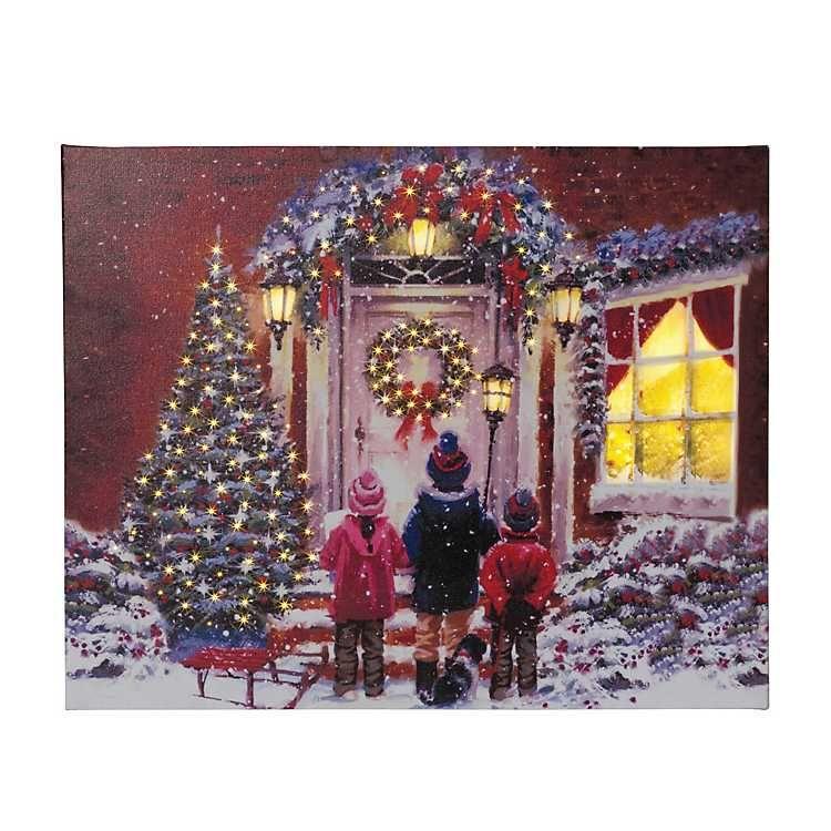 Fiber Optic Children Carolers Canvas Art Print Christmastime
