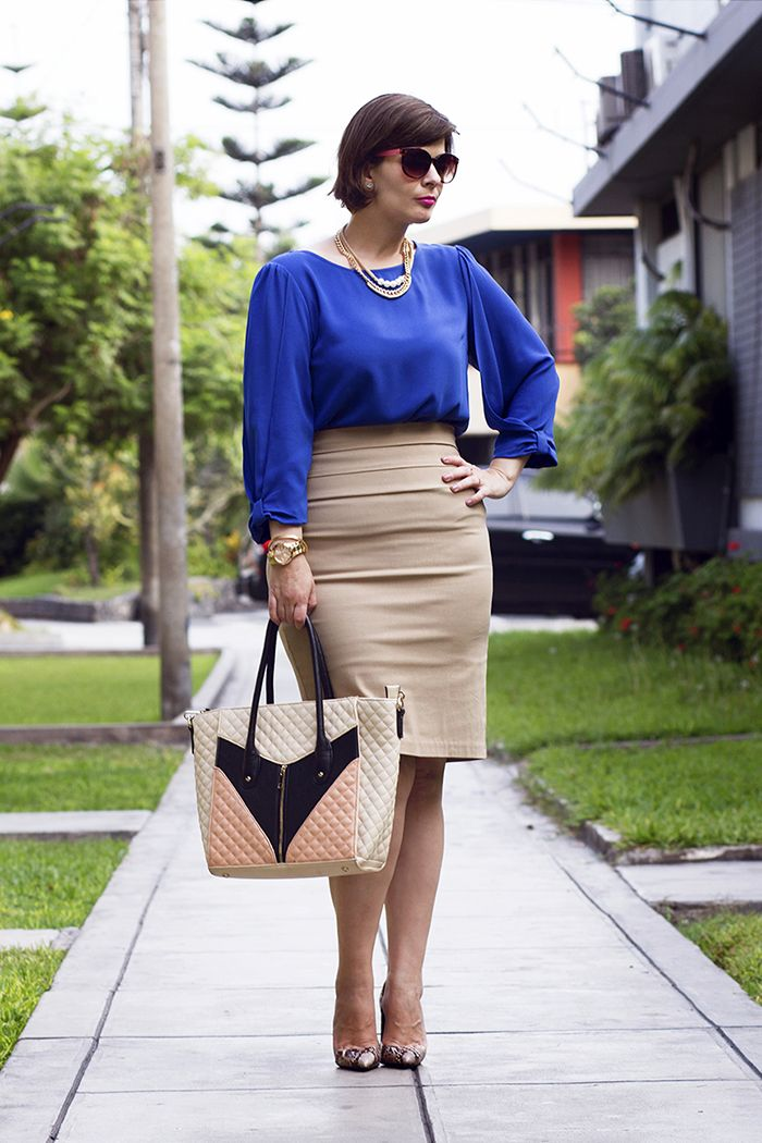 2bf5218ea874 DIVINA EJECUTIVA: Mis Looks - Falda lápiz y blusa azul   Work ...