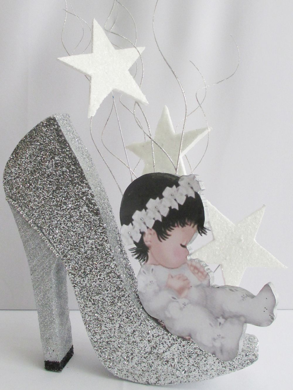 Baby on high heeled shoe centerpiece | Designs by Ginny - 21st Birthday Center Piece Ideas 21st And 50th Birthday