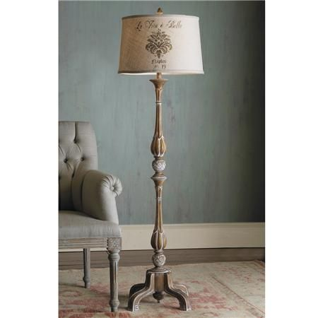 Love this French wood floor lamp with stenciled burlap shade!